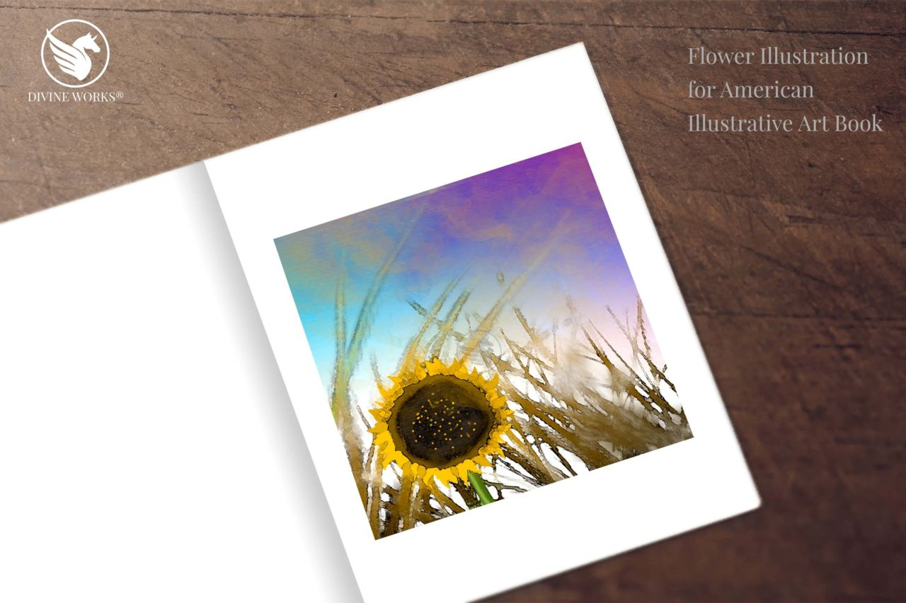 Sunflower digital raster illustration