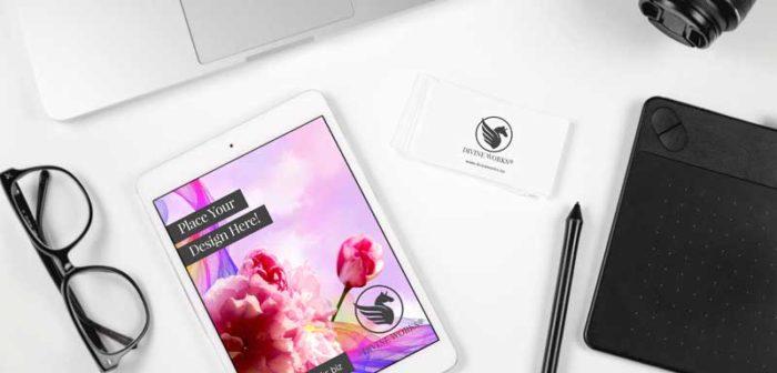 iPad and Business Card Mockup