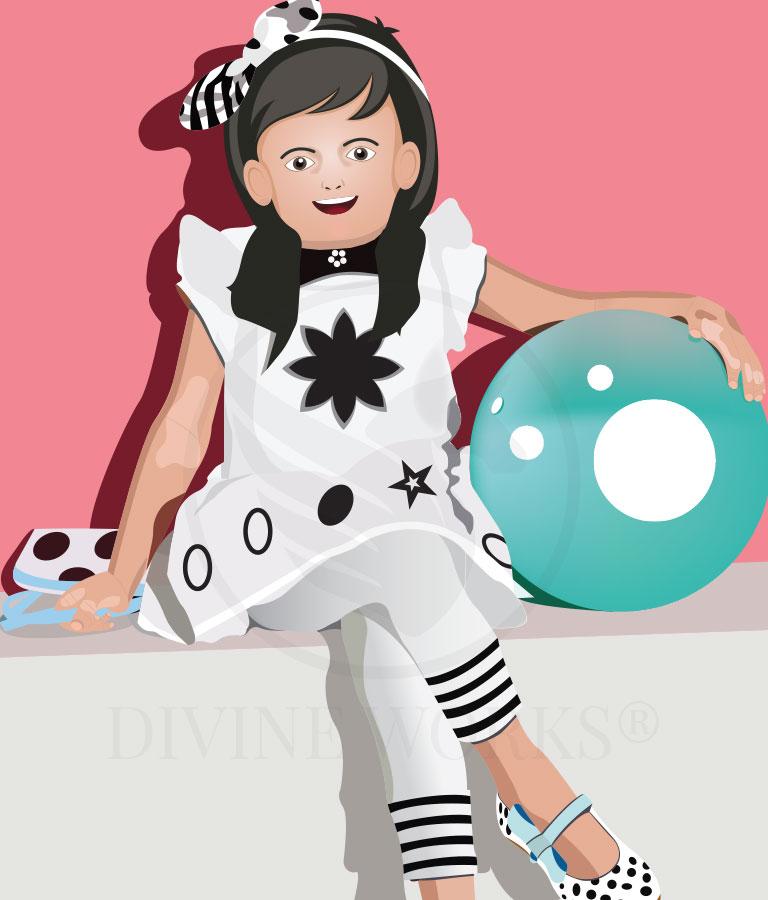 Free Baby Sit Girl Adobe Illustrator Vector Illustration by Divine Works