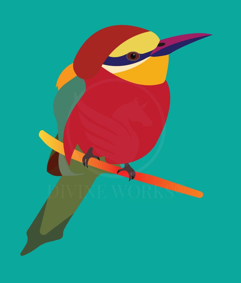 Free Beautiful Bird Adobe Illustrator Vector Illustration by Divine Works