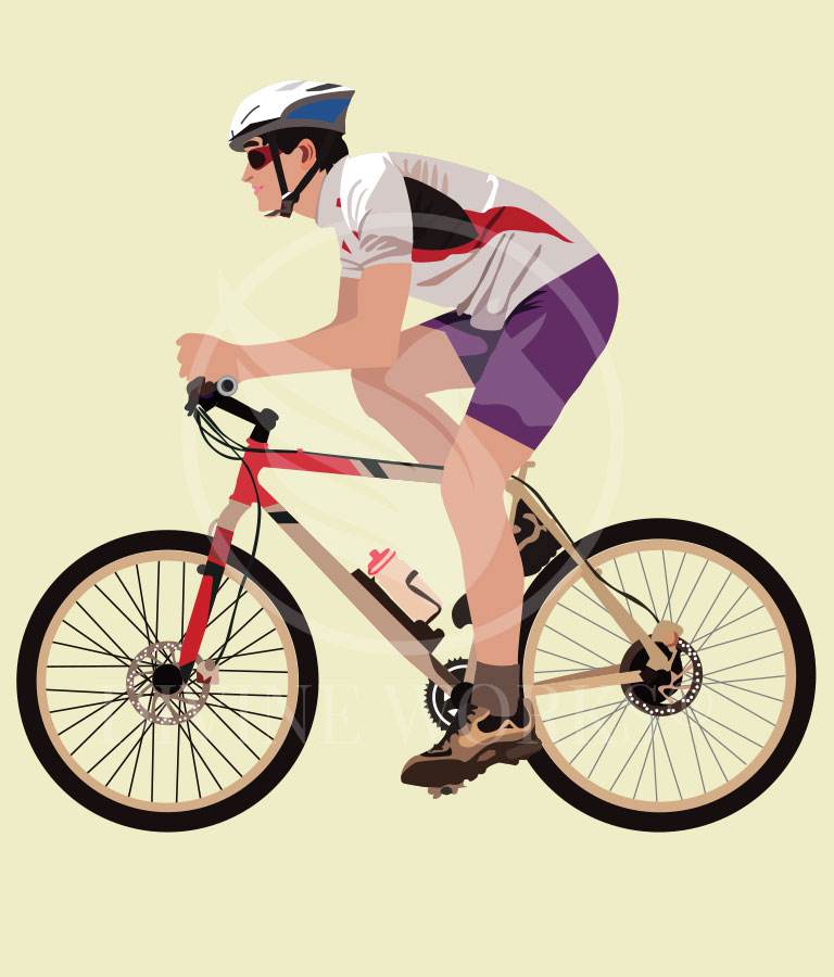Free Cyclist Adobe Illustrator Vector Illustration by Divine Works