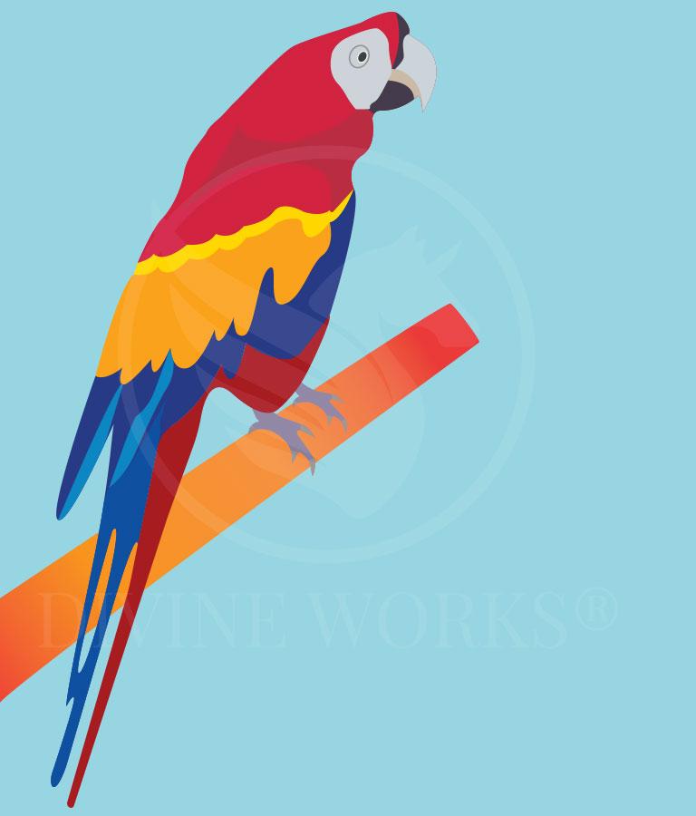 Free Parrot Bird Adobe Illustrator Vector Illustration by Divine Works
