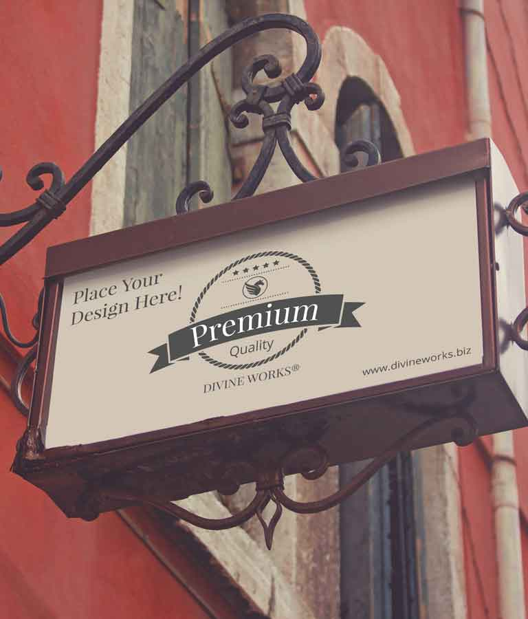 Free Wall Shop Signage Mockup by Divine Works
