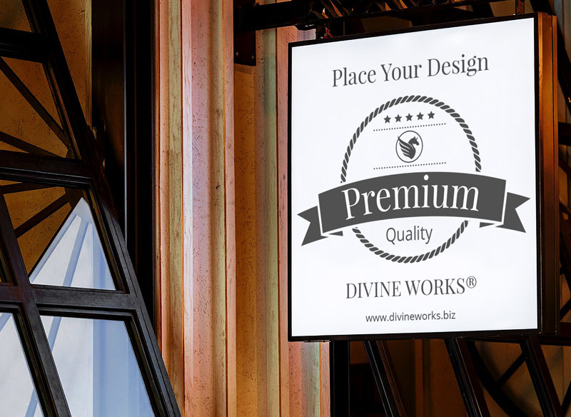 Free Wall Shop Sign Mockup by Divine Works