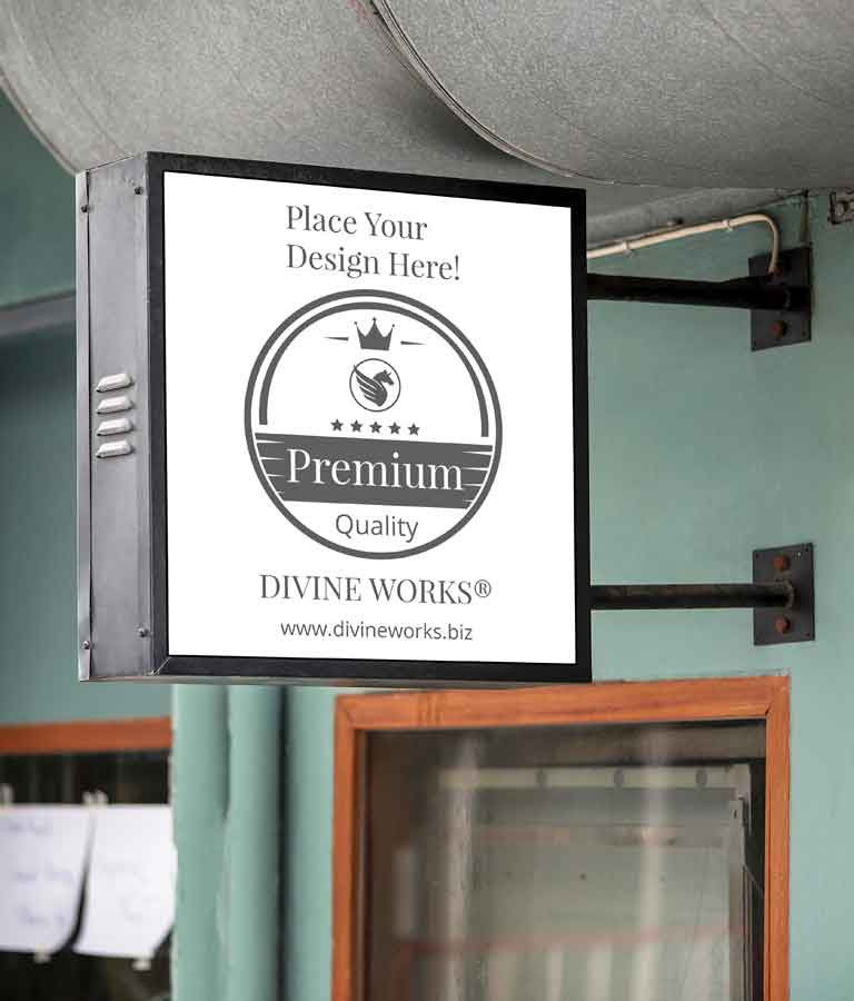 Free Hanging Wall Sign Mockup by Divine Works