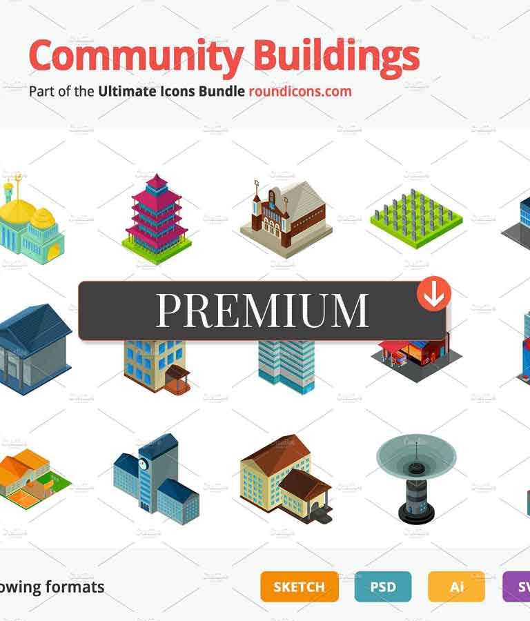 Community Buildings Vector Isometric Icons
