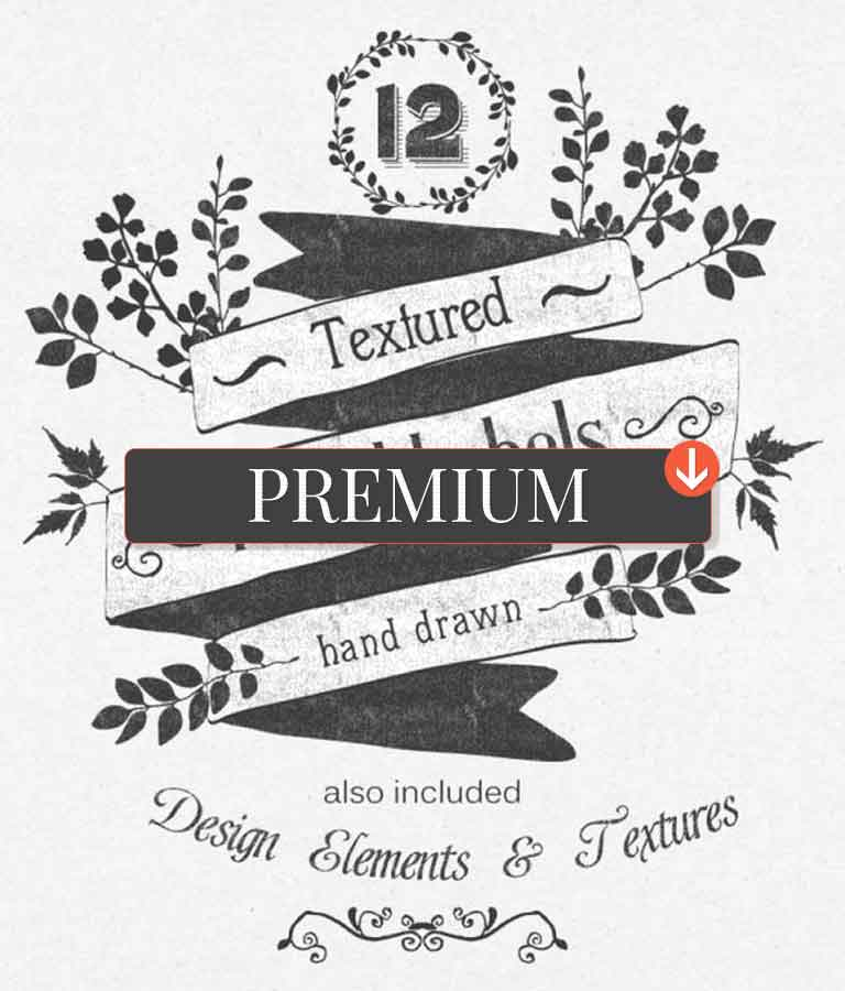 Hand Drawn Floral Labels and Design Elements