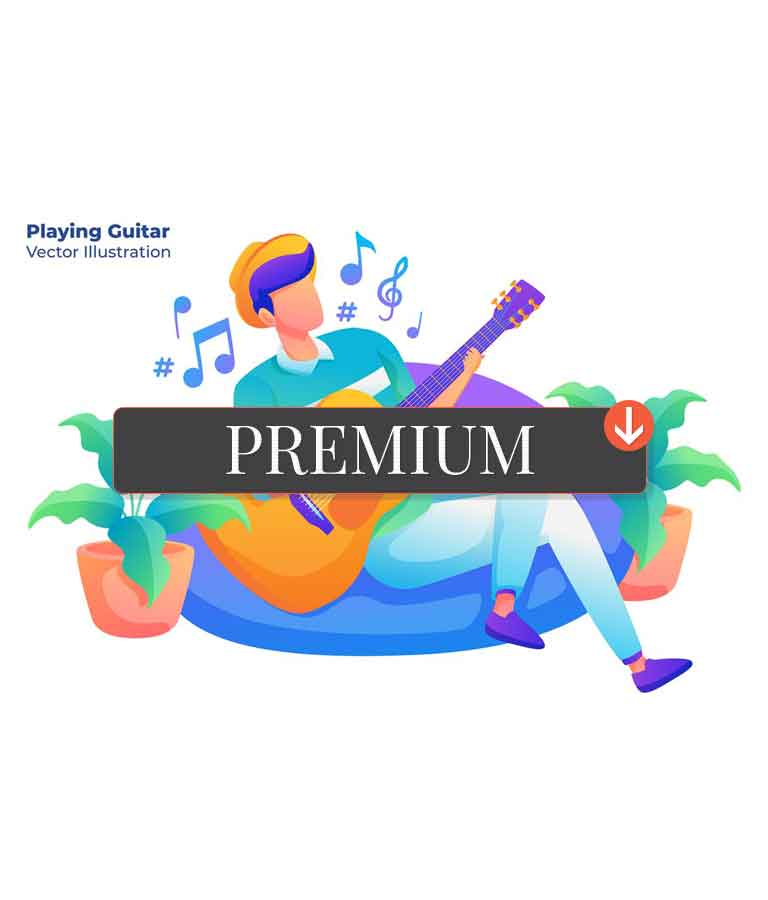 Playing Guitar – Vector Illustration