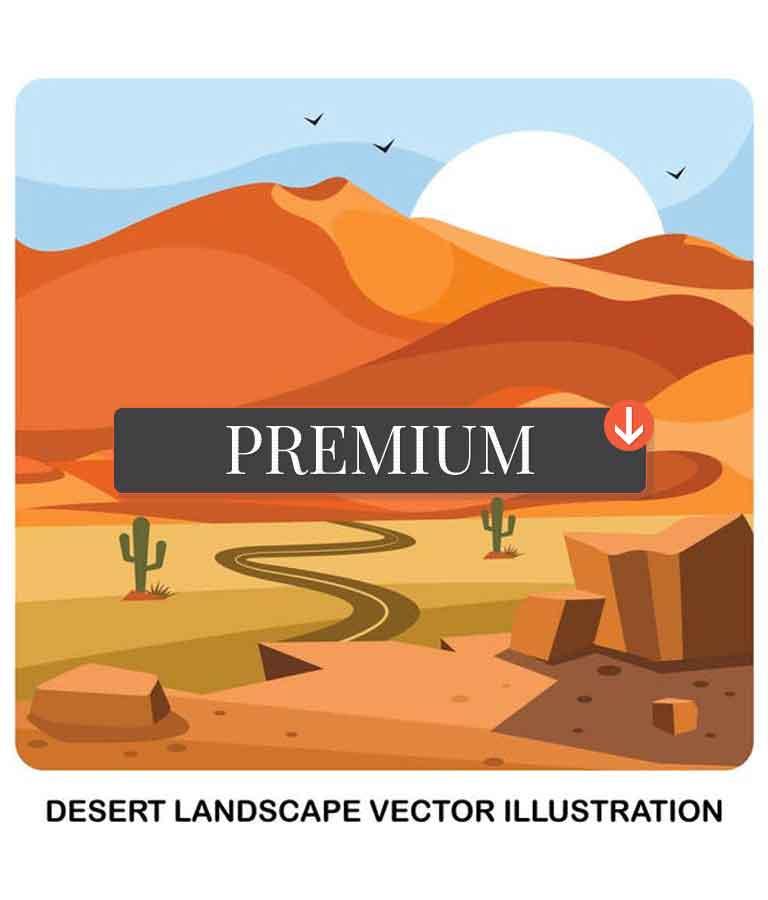 Desert Landscape Vector Illustration