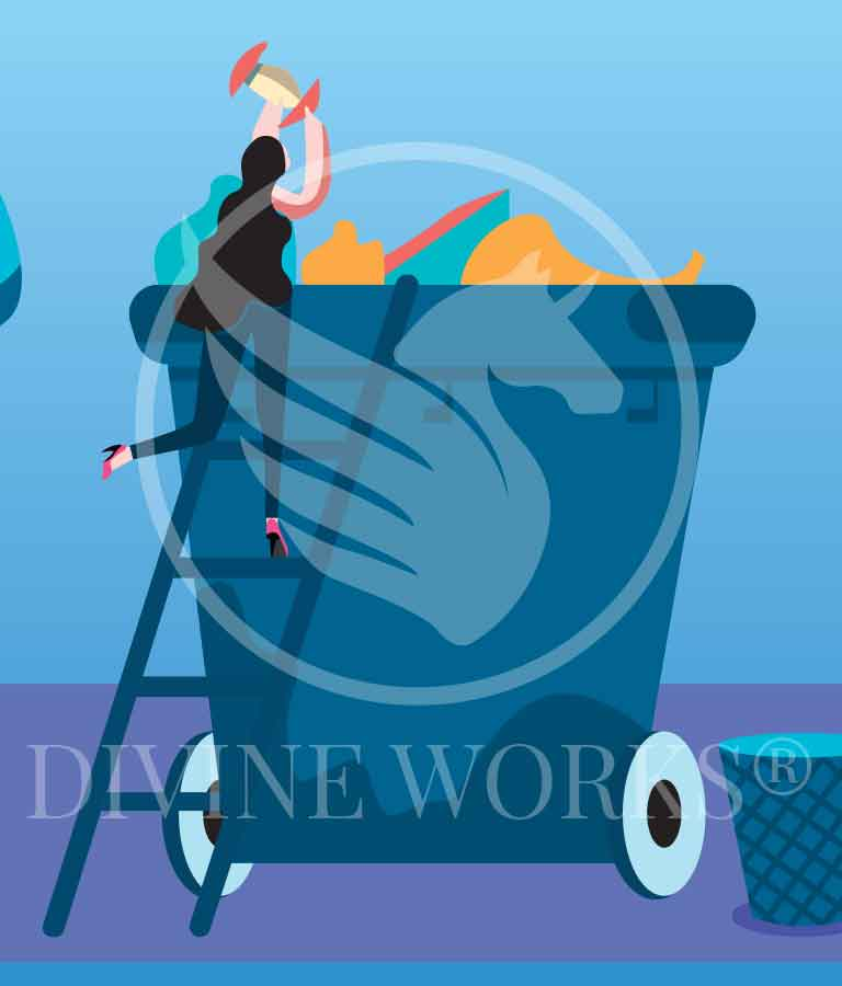 Free Adobe Illustrator Cleaning Girl Character Vector Illustration by Divine Works