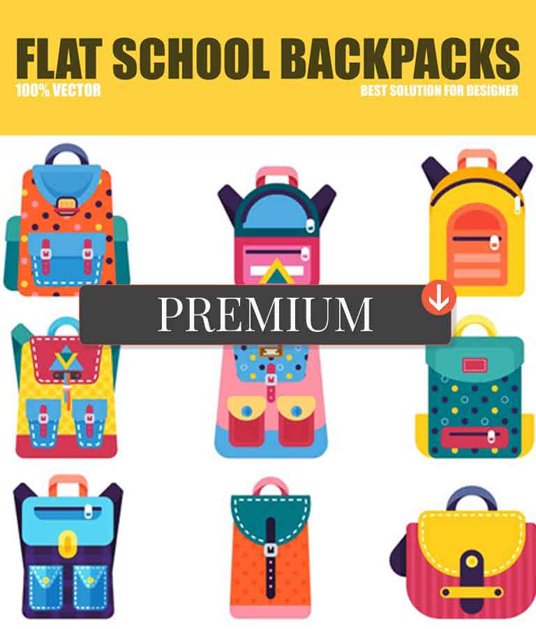 Flat School Backpacks Vector