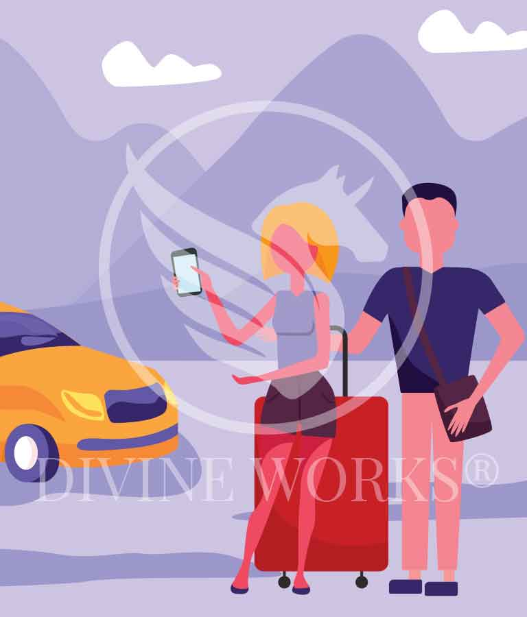 Free Adobe Illustrator Couple Tourists Vector Illustration by Divine Works