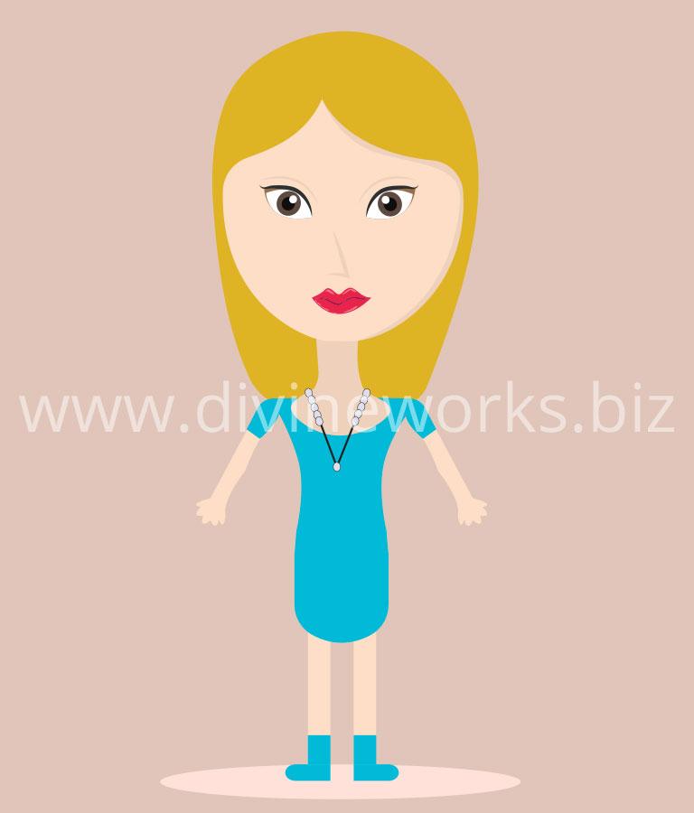 Free Cartoon Girl Character Vector Illustration