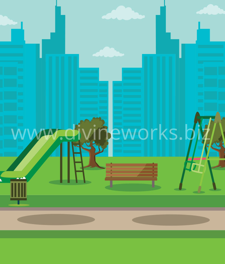 Free Adobe Illustrator City Park Environment Vector Illustration by Divine Works