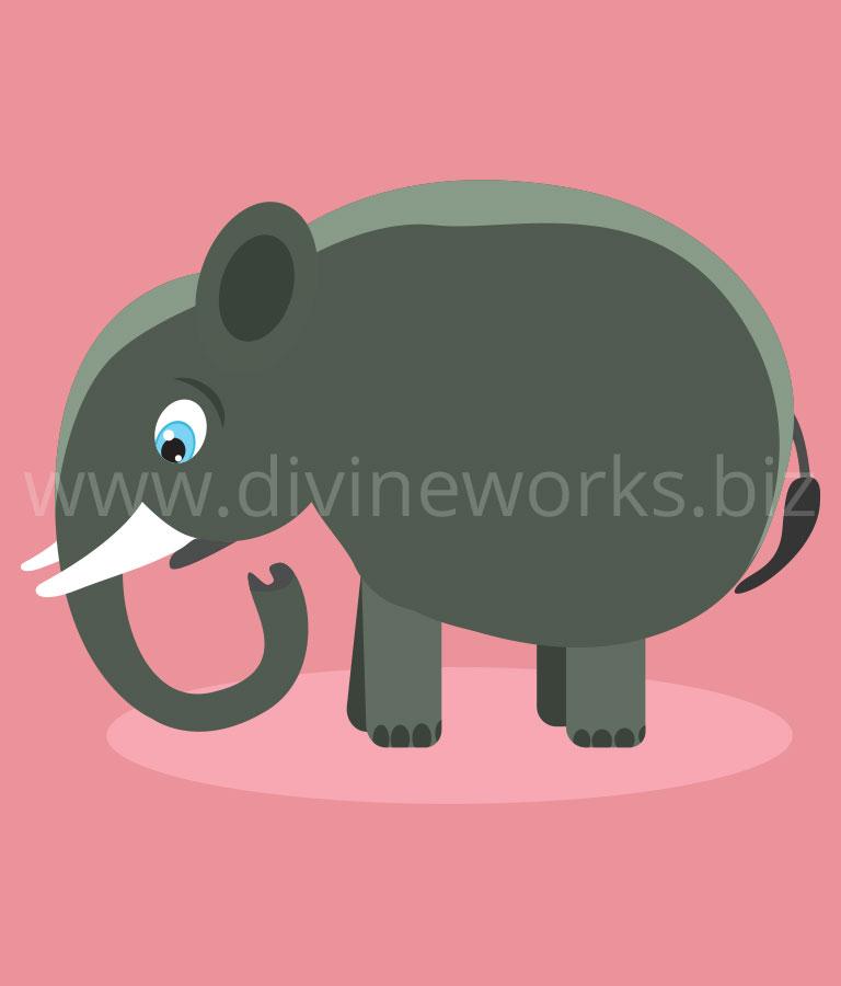 Free Adobe Illustrator Elephant Character Vector Illustration by Divine Works