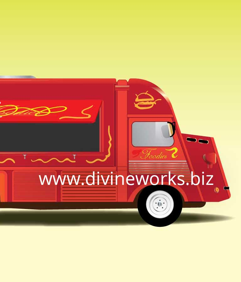 Free Food Truck Vector Illustration