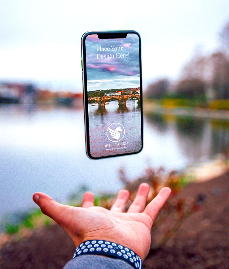 Free Floating iPhone X Mockup