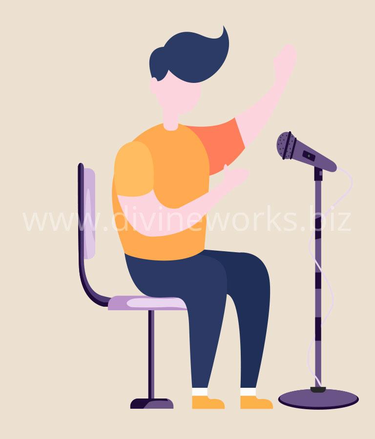 Download Free Man Singing Vector Art by Divine Works