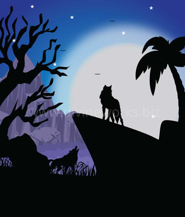 Download Free Night Wolfs Vector illustration by Divine Works