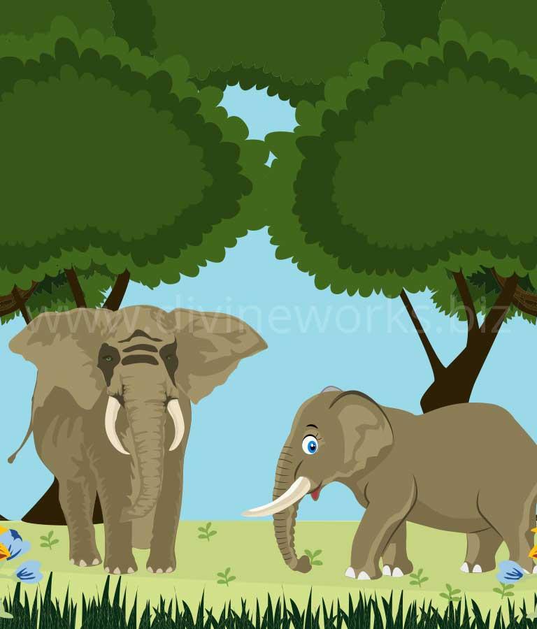 Download Free Cartoon Elephants Vector Illustration by Divine Works
