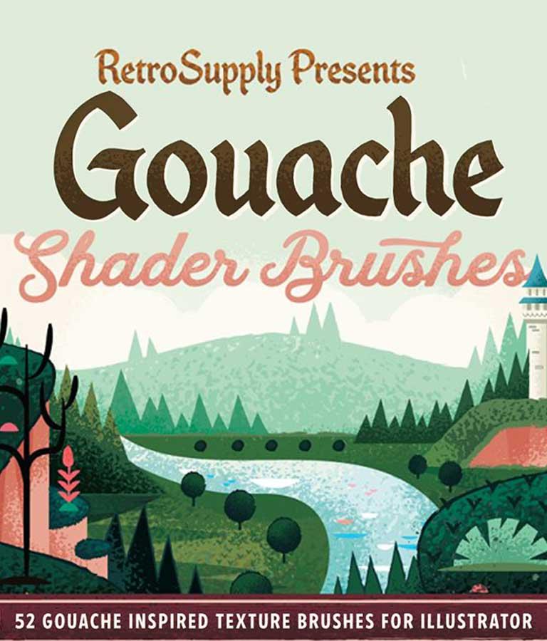 Gouache Shader Brushes Illustrator