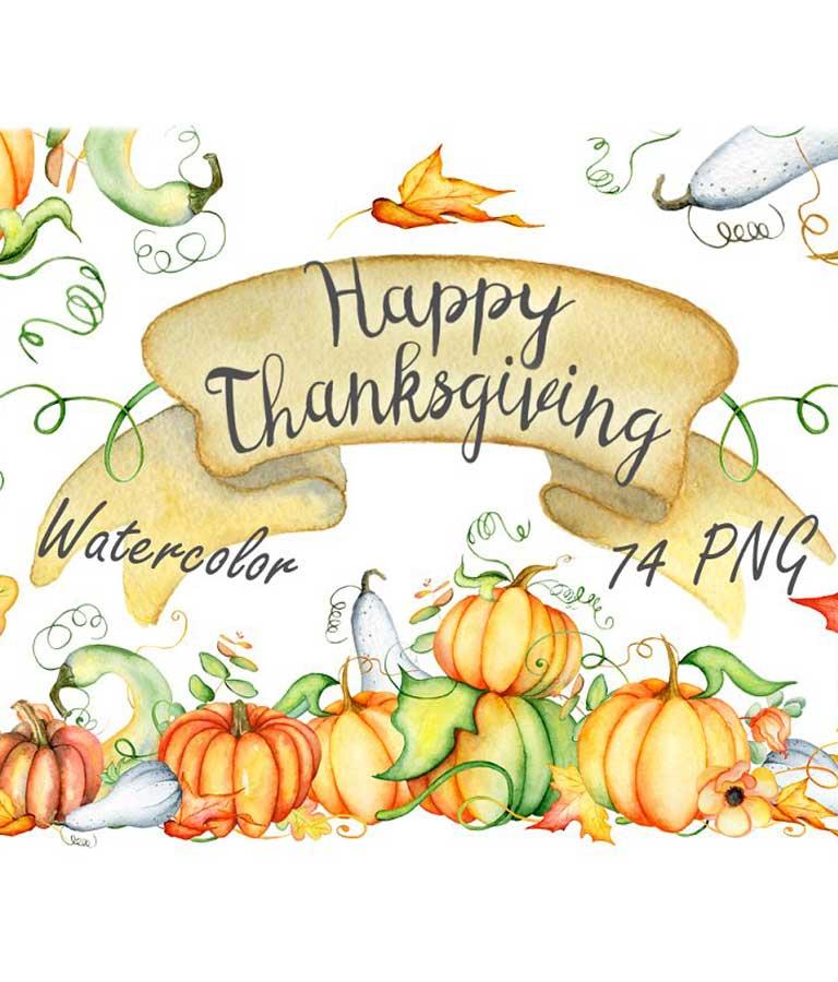 Happy Thanksgiving Pumpkins Clipart