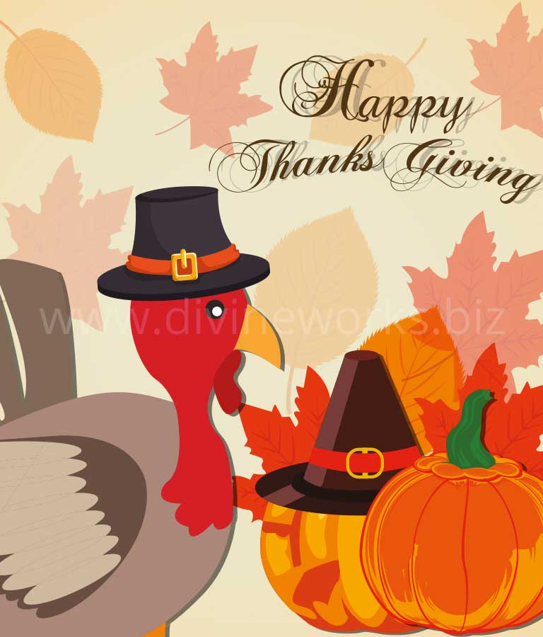 Download Free Happy Thanksgiving Turkey Vector by Divine Works