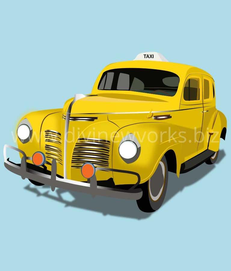Download Free Vintage Taxi Vector Illustration by Divine Works