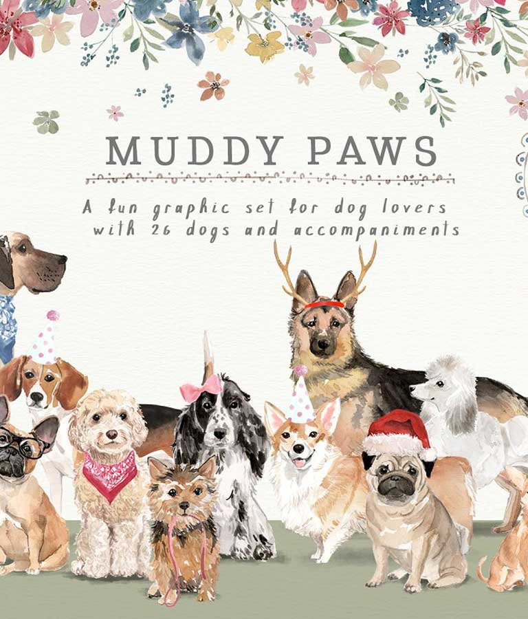 Muddy Paws-Dog Lover Graphics