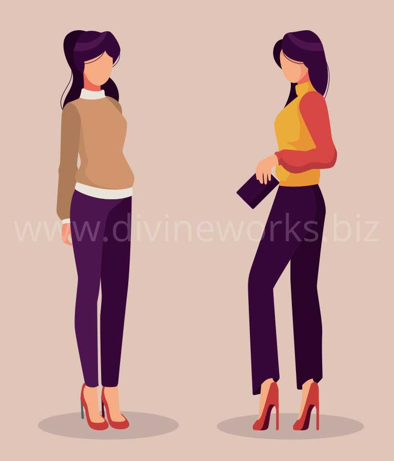 Download Free Modeling Girls Vector Illustration by Divine Works