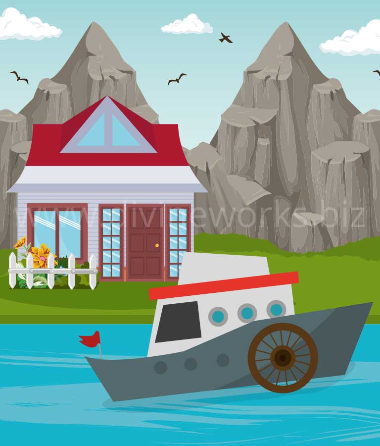 Download Free River House Vector Art by Divine Works
