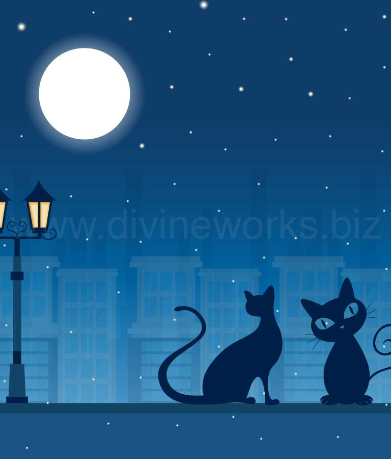 Download Free Cats Silhouette Vector Illustration by Divine Works