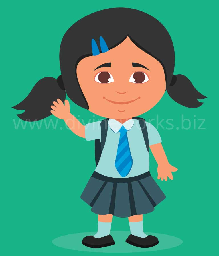 Download Free Student Girl Vector Art by Divine Works