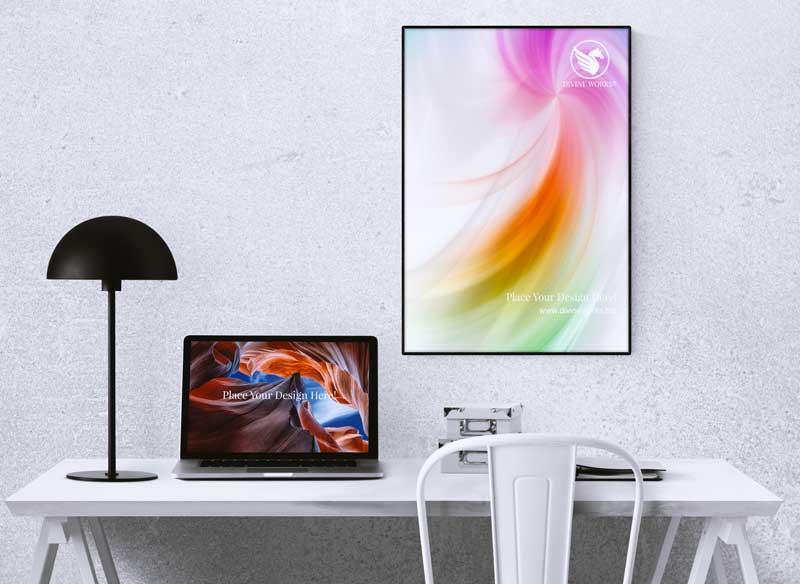 Download Free Poster & Macbook Pro Mockup by Divine Works