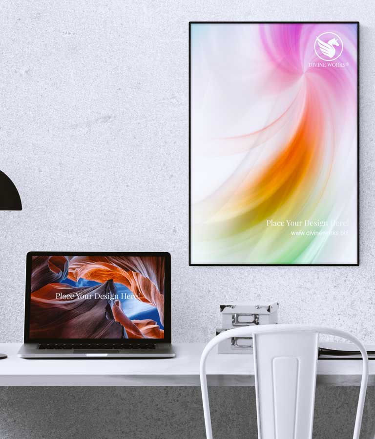 Download Free Poster & Macbook Pro Mockup by Divine Works