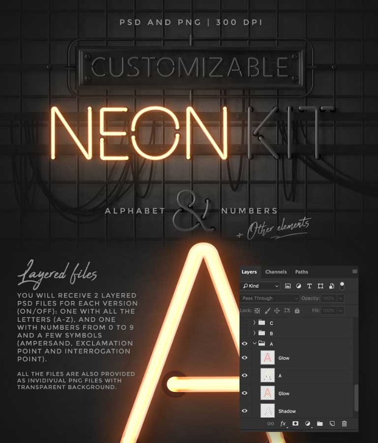 Photoshop Neon Effects Alphabet Kit PSD