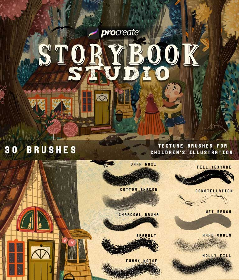 Storybook Studio Textured Brushes for Procreate