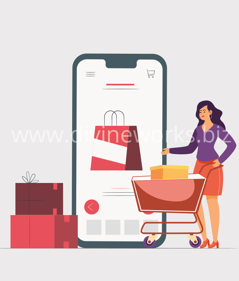 Download Free Online Mobile Shopping Vector Illustration by Divine Works