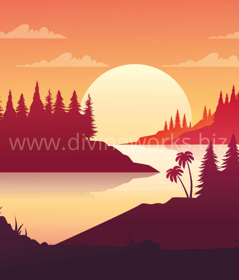 Download Free Adobe Illustrator Sunset Landscape Vector Illustration by Divine Works