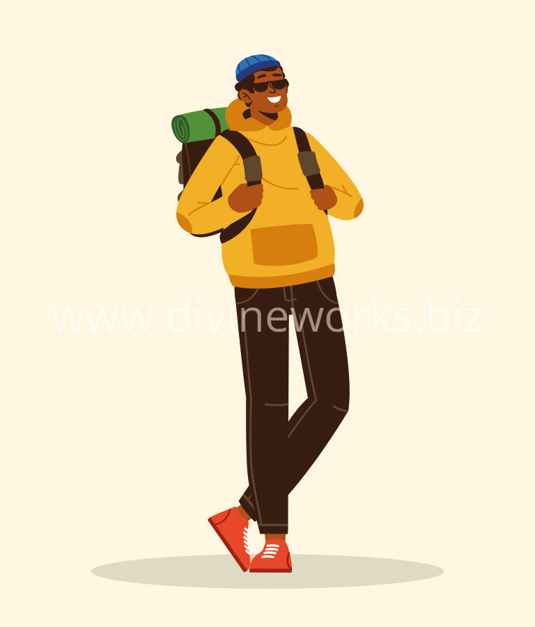 Download Free Adobe Illustrator Tourist Man Vector Illustration by Divine Works