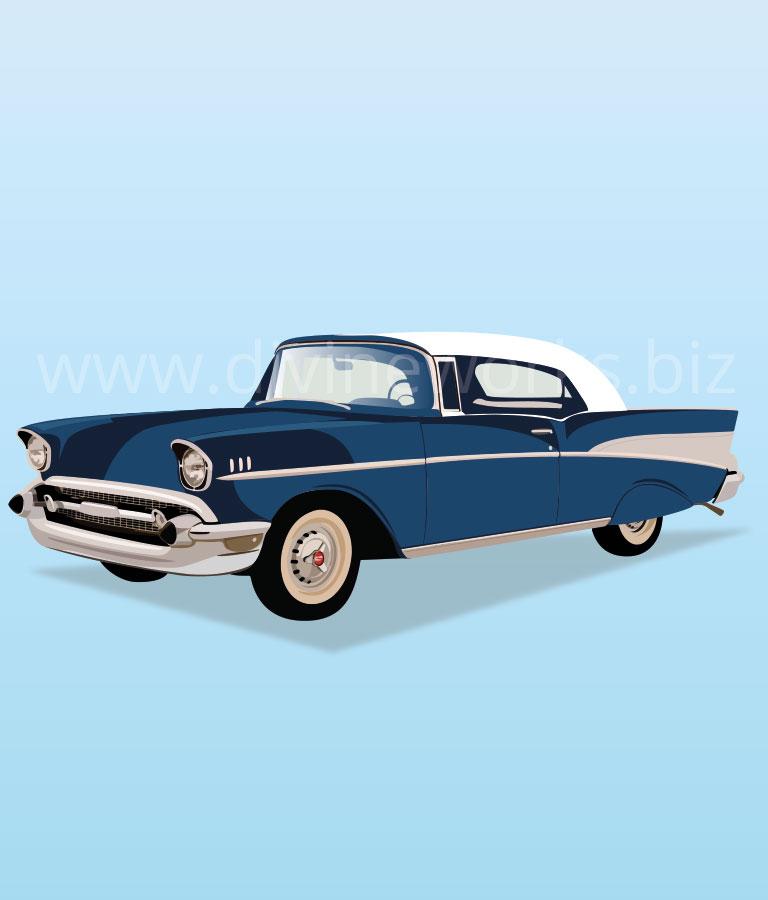 Download Free Chevrolet Bel Air Antique Car Vector by Divine Works