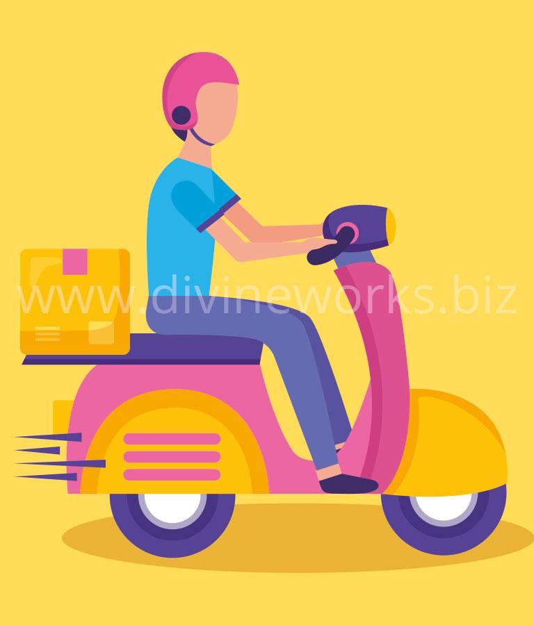 Delivery Boy Cartoon Vector Illustration