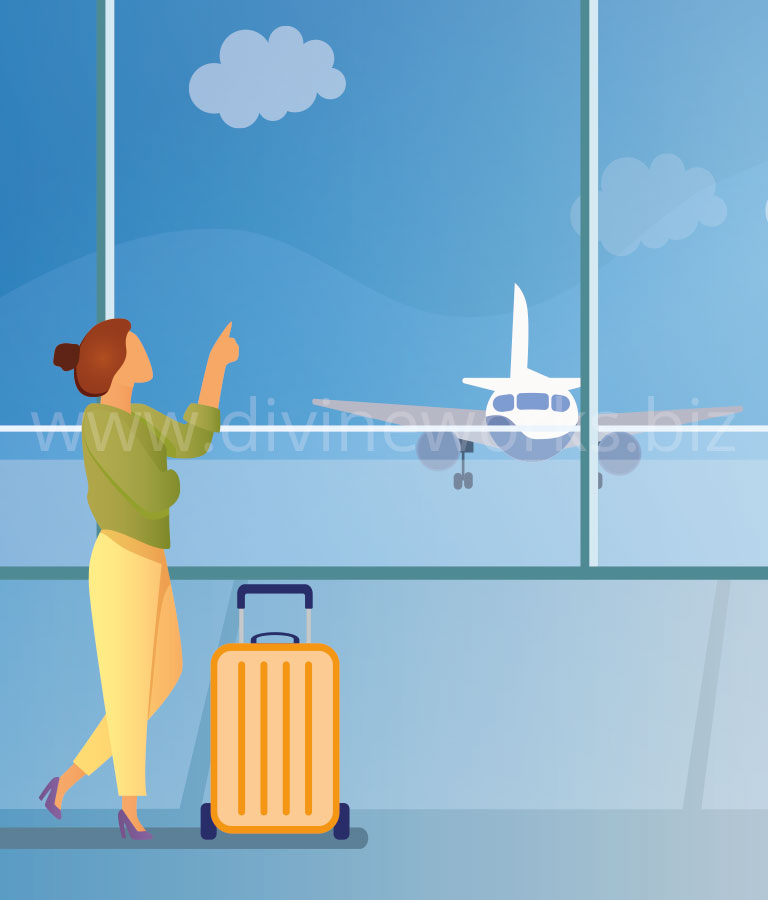 Download Free Girl In Airport Vector Illustration by Divine Works
