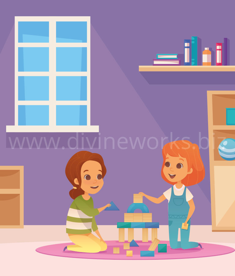 Download Free Two Girls Playing Vector Illustration by Divine Works