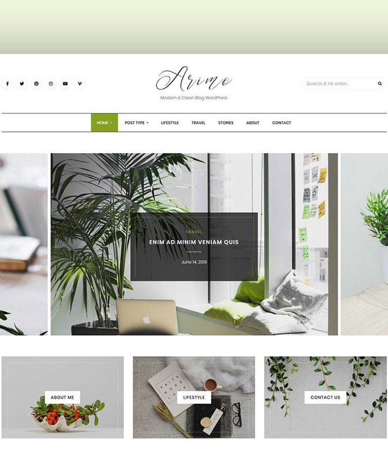 Modern Blog WordPress Theme - Arimo