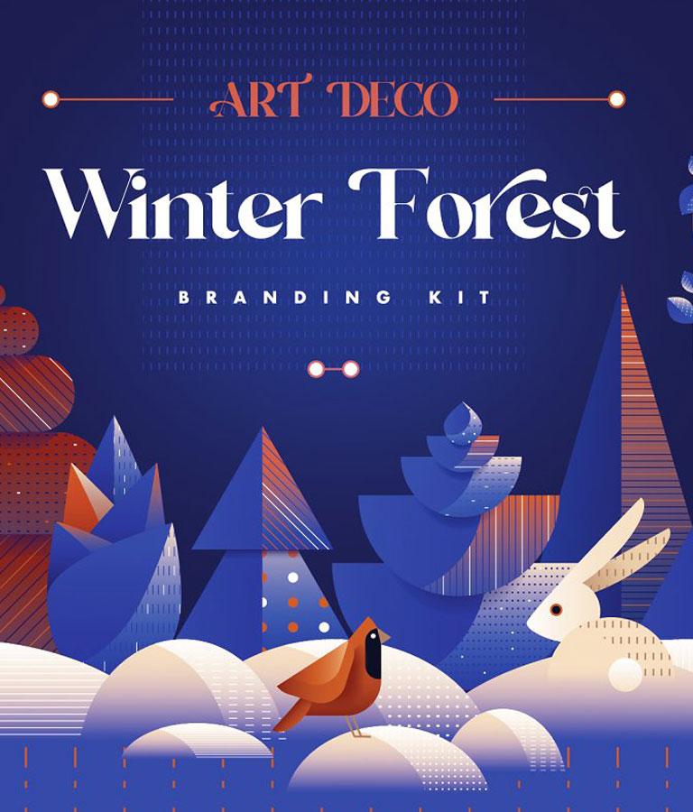 Art Deco Winter Forest Branding Kit