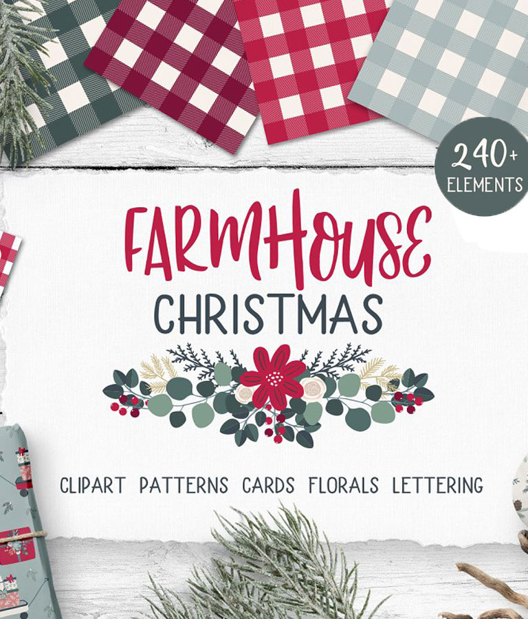 Farmhouse Christmas illustration