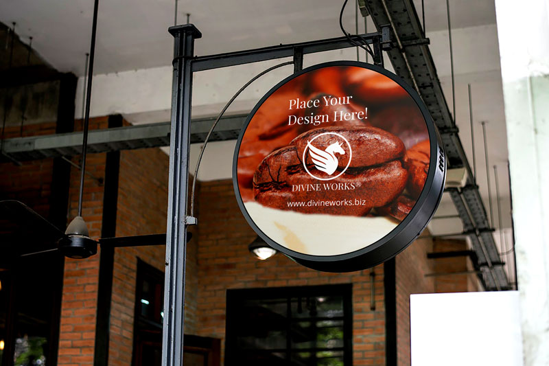 Download Free Round Signage Mockup by Divine Works
