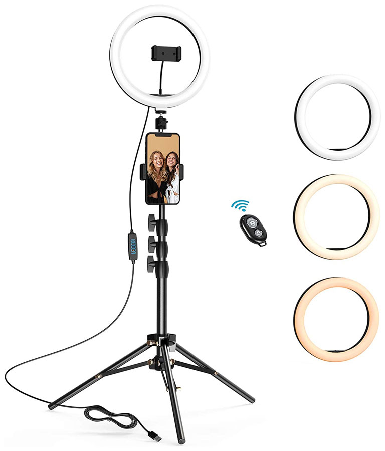 Selfie Ring Light with Tripod Stand & 2 Phone Holders