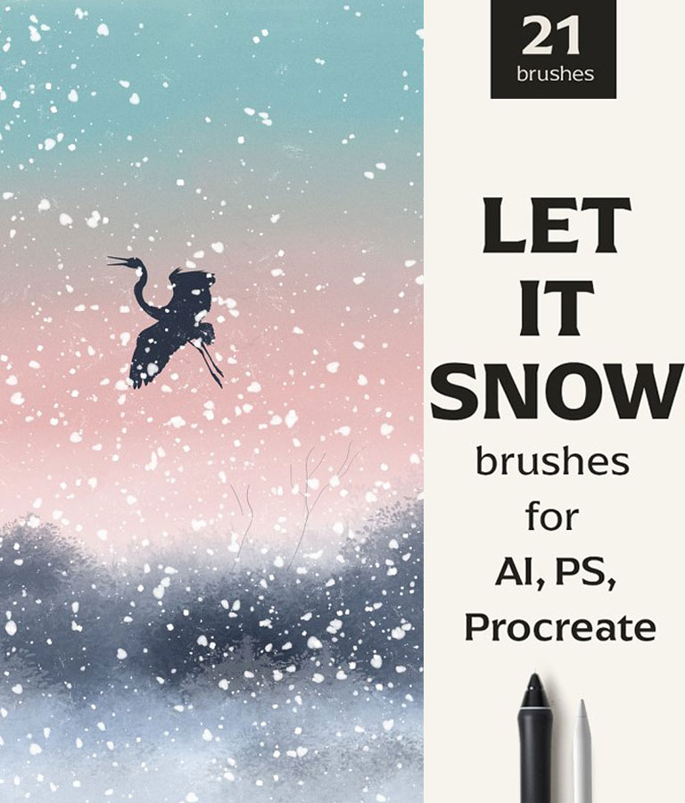 Snow brushes for AI, PS & Procreate